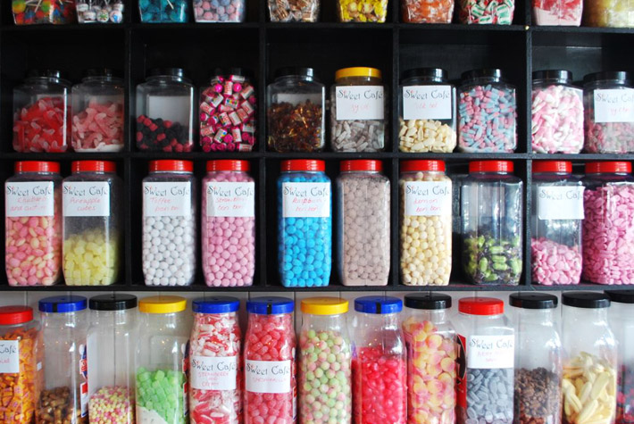 Good old fashioned sweets from the jar at Sweet Cafe in Wensleydale Road
